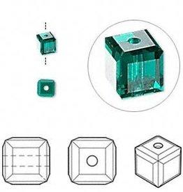 4 PC 4mm Swarovski Cube : Emerald