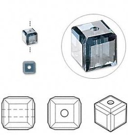 4 PC 4mm Swarovski Cube : Montana Blue
