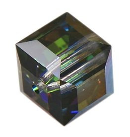 4 PC 4mm Swarovski Cube : Medium Vitrail