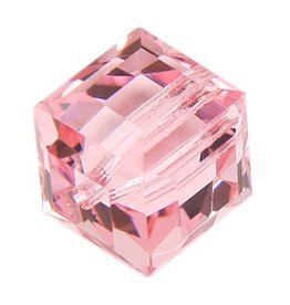 4 PC 6mm Swarovski Cube : Light Rose