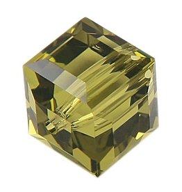 4 PC 6mm Swarovski Cube : Khaki