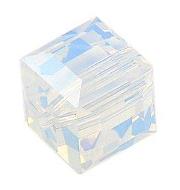 4 PC 6mm Swarovski Cube : White Opal