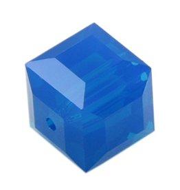 4 PC 6mm Swarovski Cube : Caribbean Blue Opal