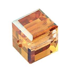 4 PC 6mm Swarovski Cube : Crystal Copper