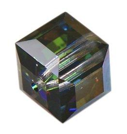 4 PC 6mm Swarovski Cube : Medium Vitrail