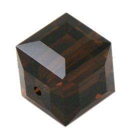 4 PC 8mm Swarovski Cube : Mocha