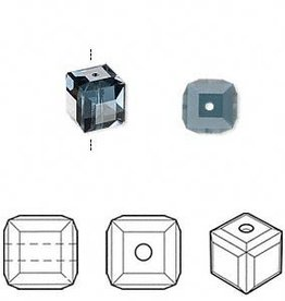 4 PC 8mm Swarovski Cube : Montana Blue