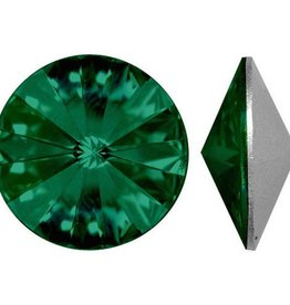 2 PC 14mm Swarovski Rivoli : Emerald Foil Back