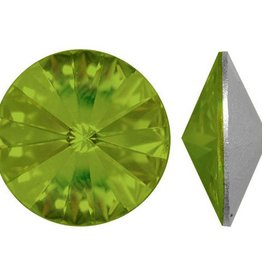 2 PC 14mm Swarovski Rivoli : Olivine Foil Back