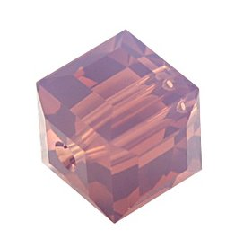 4 PC 6mm Swarovski Cube : Cyclamen Opal