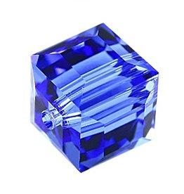 4 PC 6mm Swarovski Cube : Sapphire