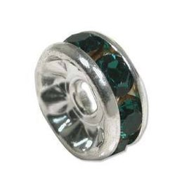 4 PC SP 4.5mm Rhinestone Rondell : Emerald