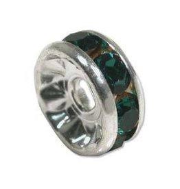 4 PC SP 6mm Rhinestone Rondell : Green Emerald