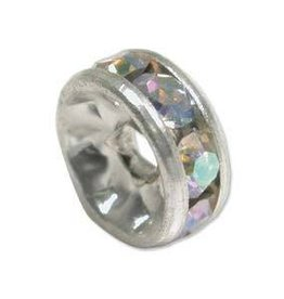 2 PC SP 10mm Rhinestone Rondell : Crystal AB