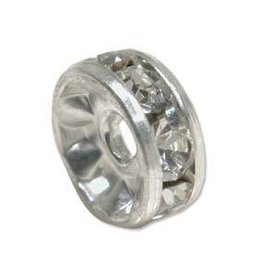 2 PC SP 10mm Rhinestone Rondell : Crystal