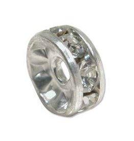 2 PC SP 10mm Rhinestone Rondell : Crystal