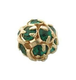 2 PC GP 6mm Rhinestone Balls : Emerald