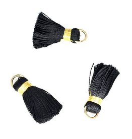 10 PC 20mm Black/Gold Tassel