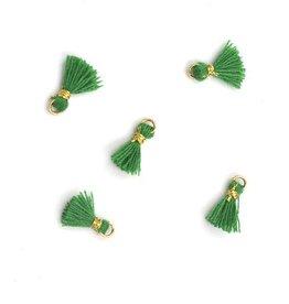 10 PC 10mm Emerald/Gold Tassel