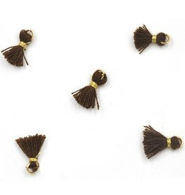 10 PC 10mm Brown/Gold Tassel