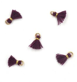10 PC 10mm Purple/Gold Tassel