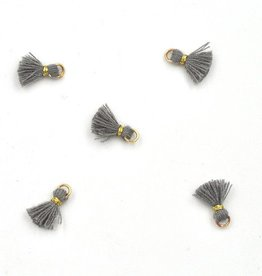 10 PC 10mm Dark Grey/Gold Tassel
