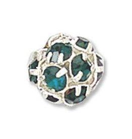 2 PC SP 8mm Rhinestone Balls : Emerald