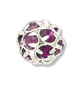 2 PC SP 8mm Rhinestone Balls : Amethyst