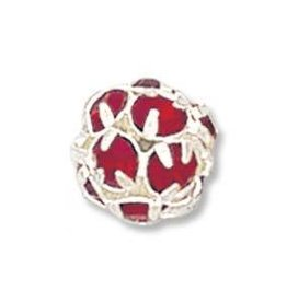 2 PC SP 10mm Rhinestone Balls : Ruby