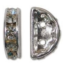 2 PC SP 13x6mm Rhinestone Half Moon : Crystal