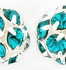 2 PC SP 8mm Rhinestone Balls : Teal