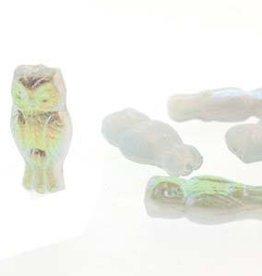 10 PC 15x7mm Owls : Opal Blue Rainbow