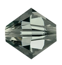 24 PC 3mm Swarovski Bicone (5328) : Black Diamond