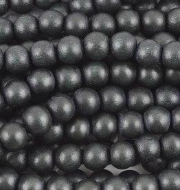 "8mm Round Dark Charcoal Wood Bead 16"" Strand"