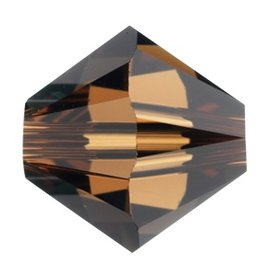 12 PC 6mm Swarovski Bicone (5328) : Smoked Topaz