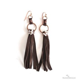DISC Leather Wire Wrapped Fringe Earrings Kit : Antique Copper