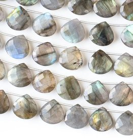 "8.5"" 14mm Faceted Briolette : Labradorite"