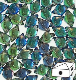 10 GM 5x8mm DiamondDuo™ 2 Hole Bead : Prismatic Peacock (APX 65 PCS)