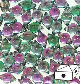 10 GM 5x8mm DiamondDuo™ 2 Hole Bead : Prismatic Watermelon Punch (APX 65 PCS)