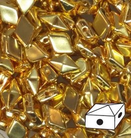 10 GM 5x8mm DiamondDuo™ 2 Hole Bead : 24K Gold Full Coat (APX 65 PCS)