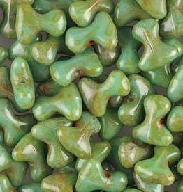 48 PC 2x8mm Tee : Turquoise Green Travertine