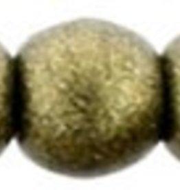 100 PC 2mm Round : Metallic Suede Gold