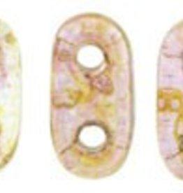 10 GM 2x6mm 2 Hole Bar : Transparent Rose Luster (APX 140 PCS)