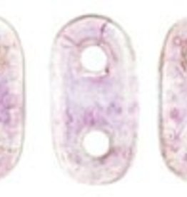 10 GM 2x6mm 2 Hole Bar : Transparent Pink Luster (APX 140 PCS)