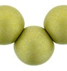25 PC 6mm Top Hole Round : Satin Metallic Chartreuse