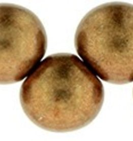 25 PC 6mm Top Hole Round : Saturated Metallic Warm Taupe