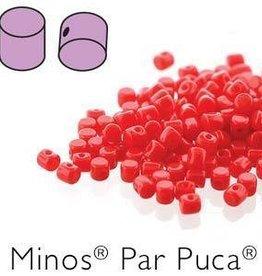 10 GM 2.5x3mm Minos Par Puca : Opaque Coral Red (APX 200 PCS)