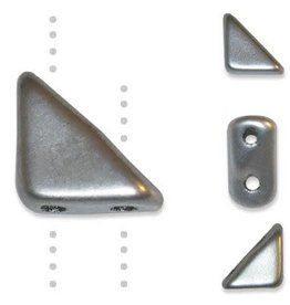 10 GM 8x6mm Tango™ 2 Hole Bead : Matte Silver (APX 65 PCS)