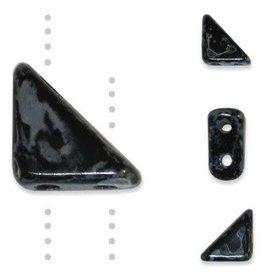10 GM 8x6mm Tango™ 2 Hole Bead : Jet Silver Picasso (APX 65 PCS)