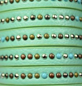 1 Meter 10x2.5mm Studded Flat Leather : Turquoise